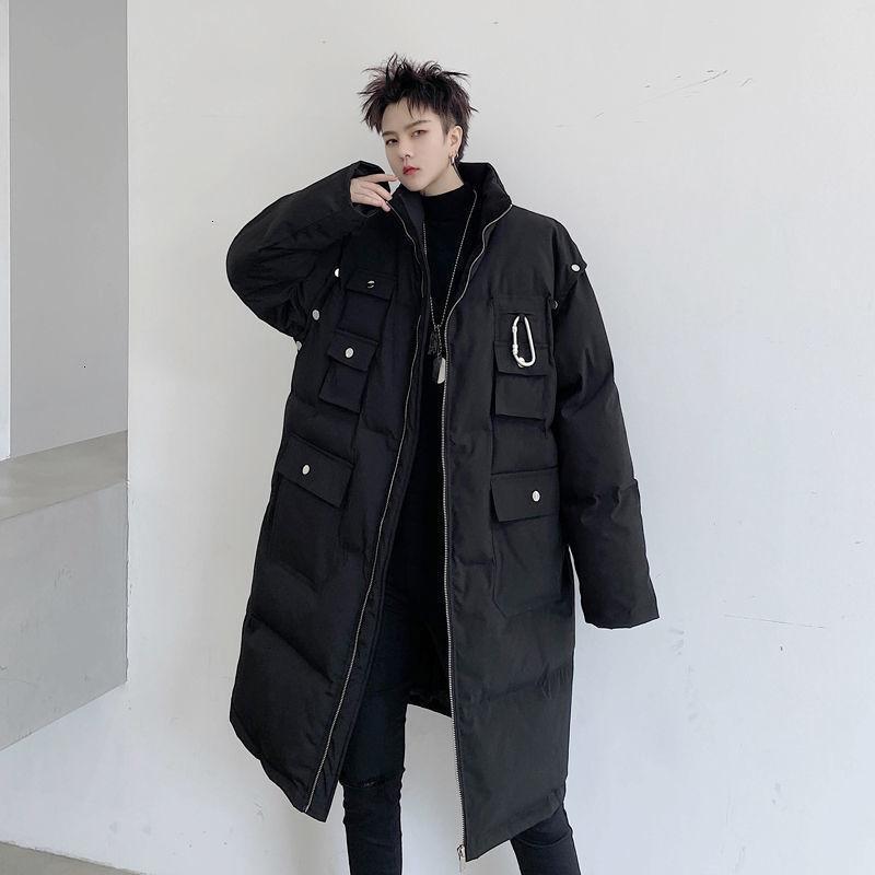Hybskr 2020 inverno nuovo uomo maniche lunghe maniche a maniche lunghe calde parka donne solido colore lungo cappotti lunghi coreani streetwear casual oversize vestiti