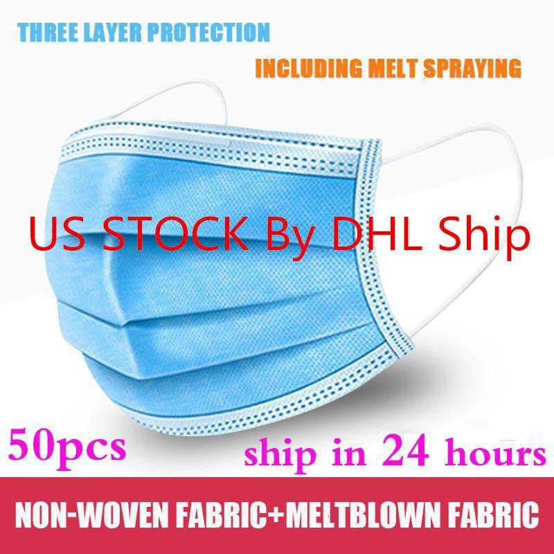 Maske 50Pcs / 100pcs Wegwerf Non Woven 3 Schicht-Ply Filtermaske Mund Gesichtsmaske Filter Breathable schnelles Verschiffen liefern