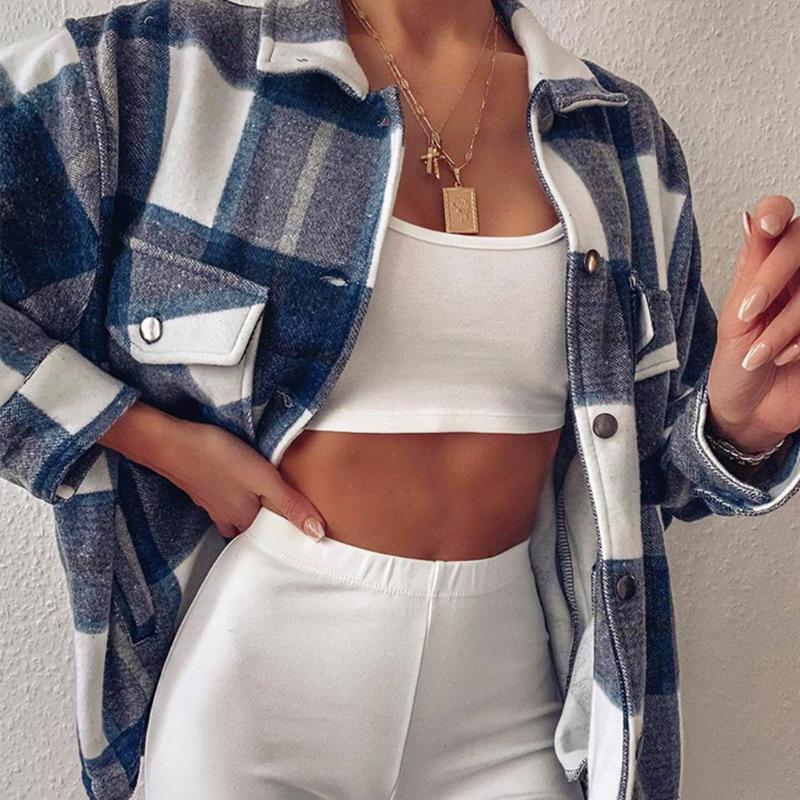 Fashion Plaid Overshirt Jacket Check Lapel Collar Long Sleeve Coat Women Oversized Pockets With Flaps Button Jackets Tops