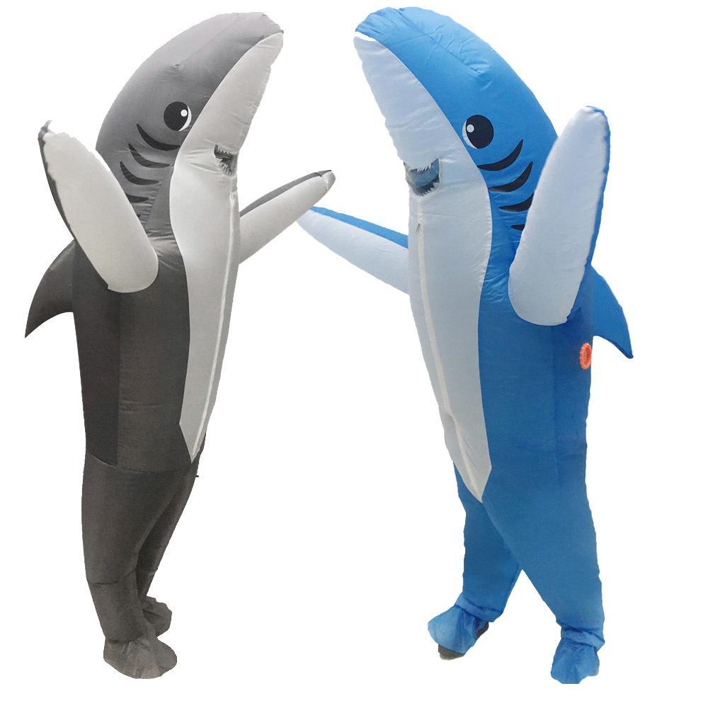 Взрослые Акулы Надувные костюмы Хэллоуина Косплей Seafish серая акула талисмана Fancy партии Ролевая игра Peformance Disfraz Q1106