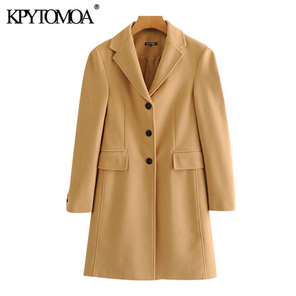 KPYTOMOA Frauen 2020 Mode Einreiher Jacken Wollmantel Vintage-Langarm Zurück Vents Weibliche Oberbekleidung Chic Overcoat