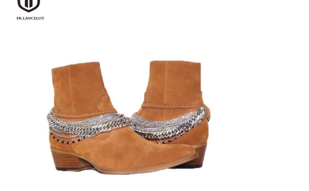 2020 neue Ankunftsmann Stiefel Bandketten Stiefel Ankle Booties männlicher Parteischuhe Hochzeit Schuhe Veloursleder Westernstiefel