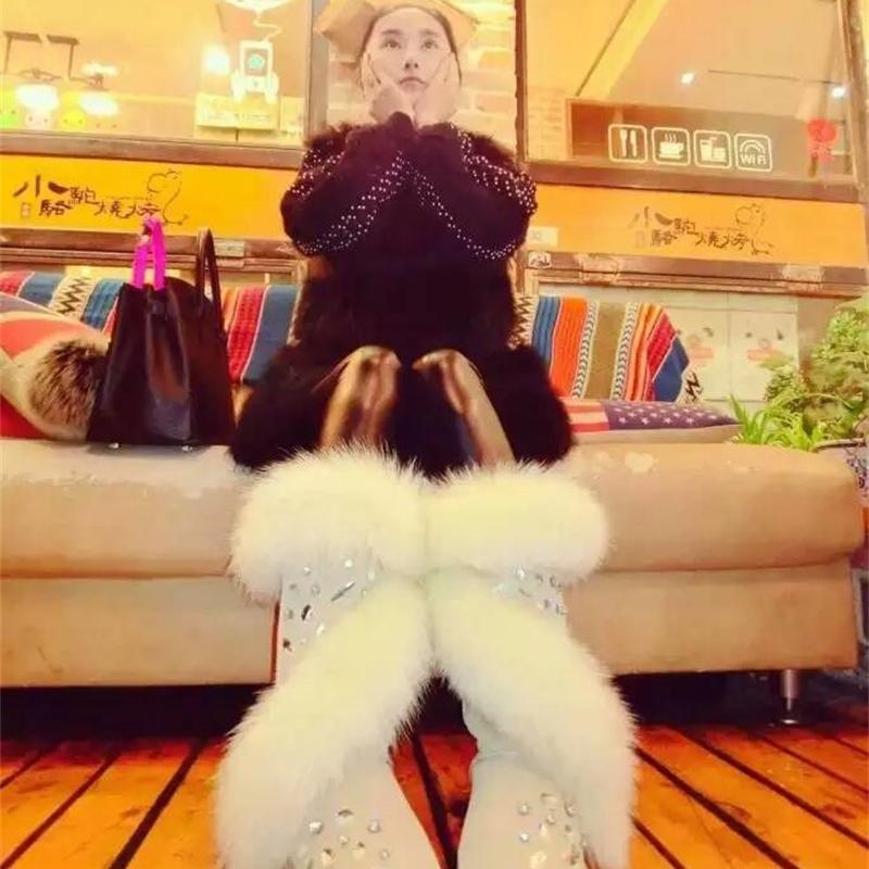 Pieles botas para mujer de los zapatos de cuero de vaca cuero auténtico botas de invierno hecho a mano del Rhinestone de las mujeres del invierno de la nieve Botas 201021