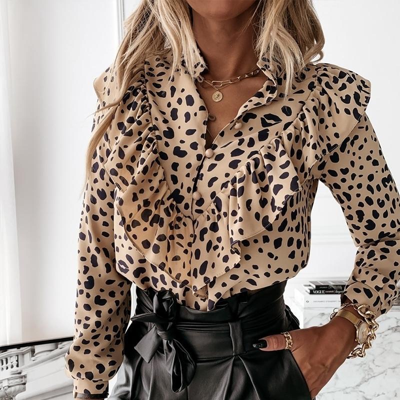 Autumn Women Leopard Stampa Stampa Ruffles Camicetta Camicia a maniche lunghe Camicia da lavoro Lady Elegante Allentato Blouses Office Top 201201
