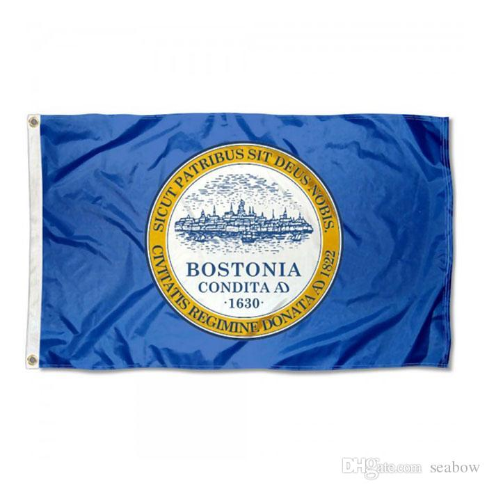 Boston-Flagge Hohe Qualität 3x5 FT Stadt Banner 90x150cm Festival-Party-Geschenk 100D Polyester Indoor Outdoor Printed Flaggen und Banner