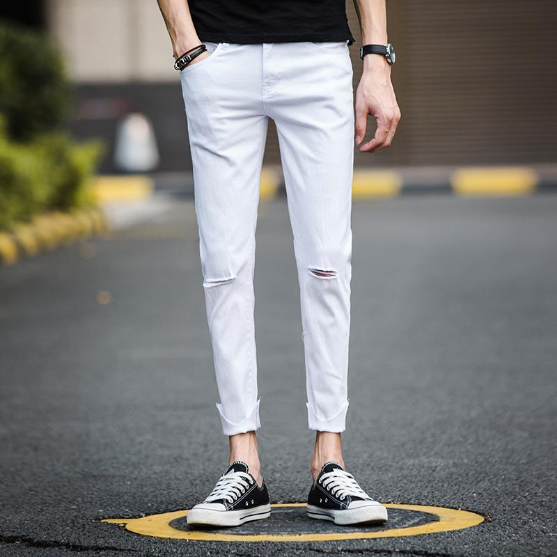 Homens Skinny Jeans joelho Buraco Branco Preto Cotton Denim Calças Lápis Rua desgaste do verão Casual Slim Fit Calças Pantalon Mens Jeans