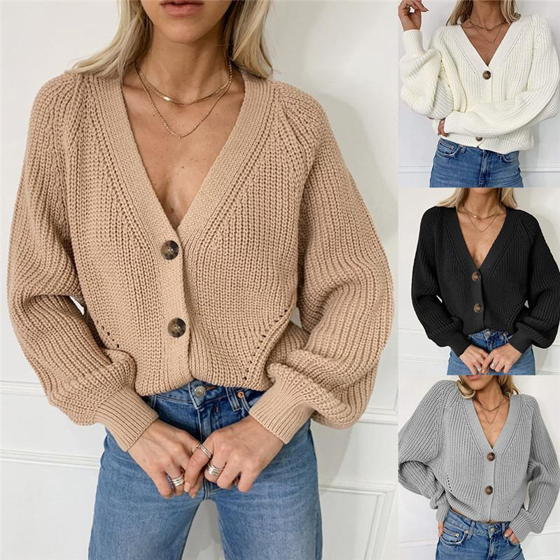 Women Solid Cardigans Autumn Casual Batwing Sleeve Knitted Sweater Fashion Oversize V-Neck Button Female Knitwear Outwear