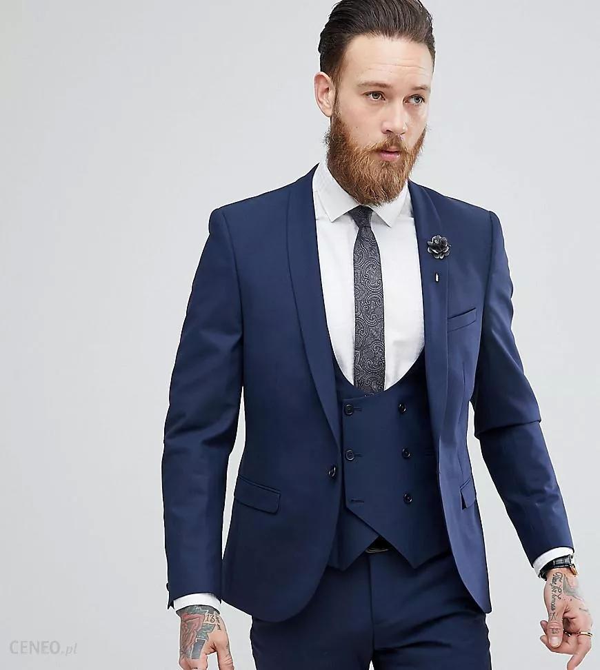 Neues stilvolles Design Ein-Knopf-Blau-Bräutigam-Smoking-Schal-Revers Groomsmen Bester Mann-Anzüge der Männer Hochzeitsanzüge (Jacket + Pants + Vest + Tie) 571