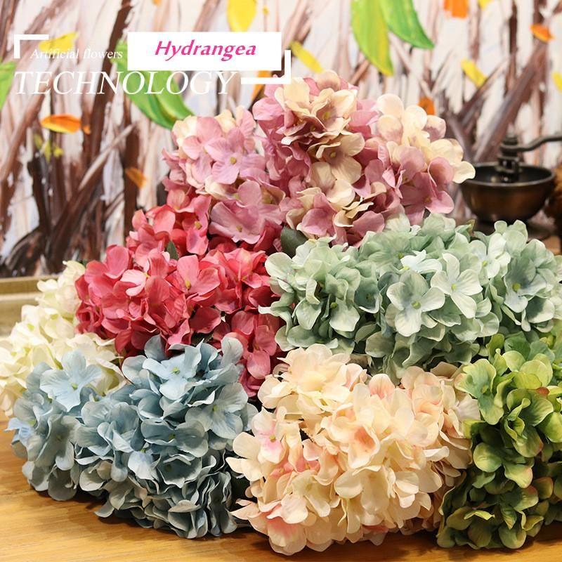 Yüksek dereceli Ortanca Yapay İpek Çiçekler Gelin El Buketi Sahte Çiçekler Düğün Ev Dekorasyon Flores Yapaylar için