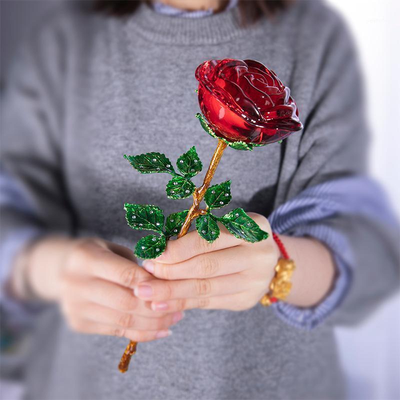 HD Crystal красная роза цветок статуэтки ремесло день рождения день святого Валентина благополучие X'mas подарки свадьба домашнего стола украшения орнамент1