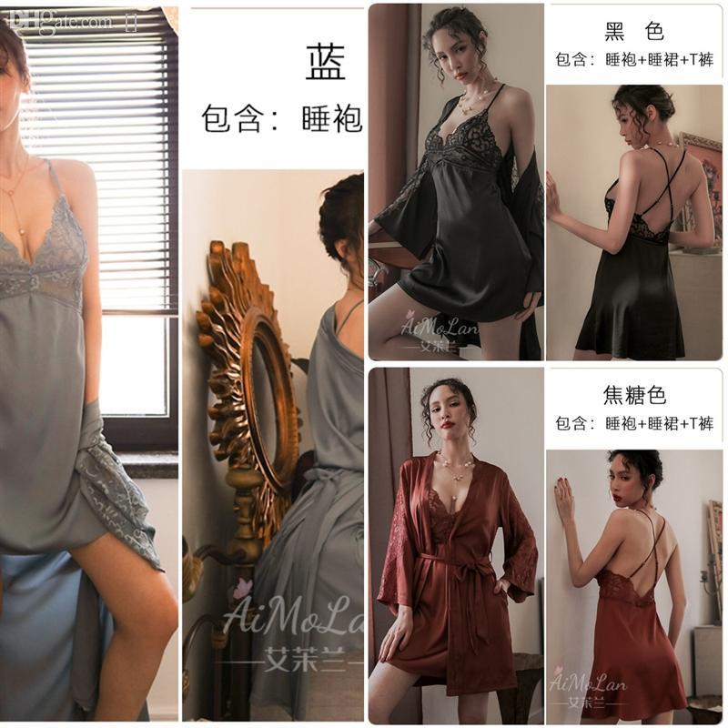 W5PL Женский Сексуальная ночная батарея набор халат набор халаты набор новых кружева Pajamas велюровые сонные одежды цветочные шелковые цветочные любовники для домашнего льда Pijamas CS