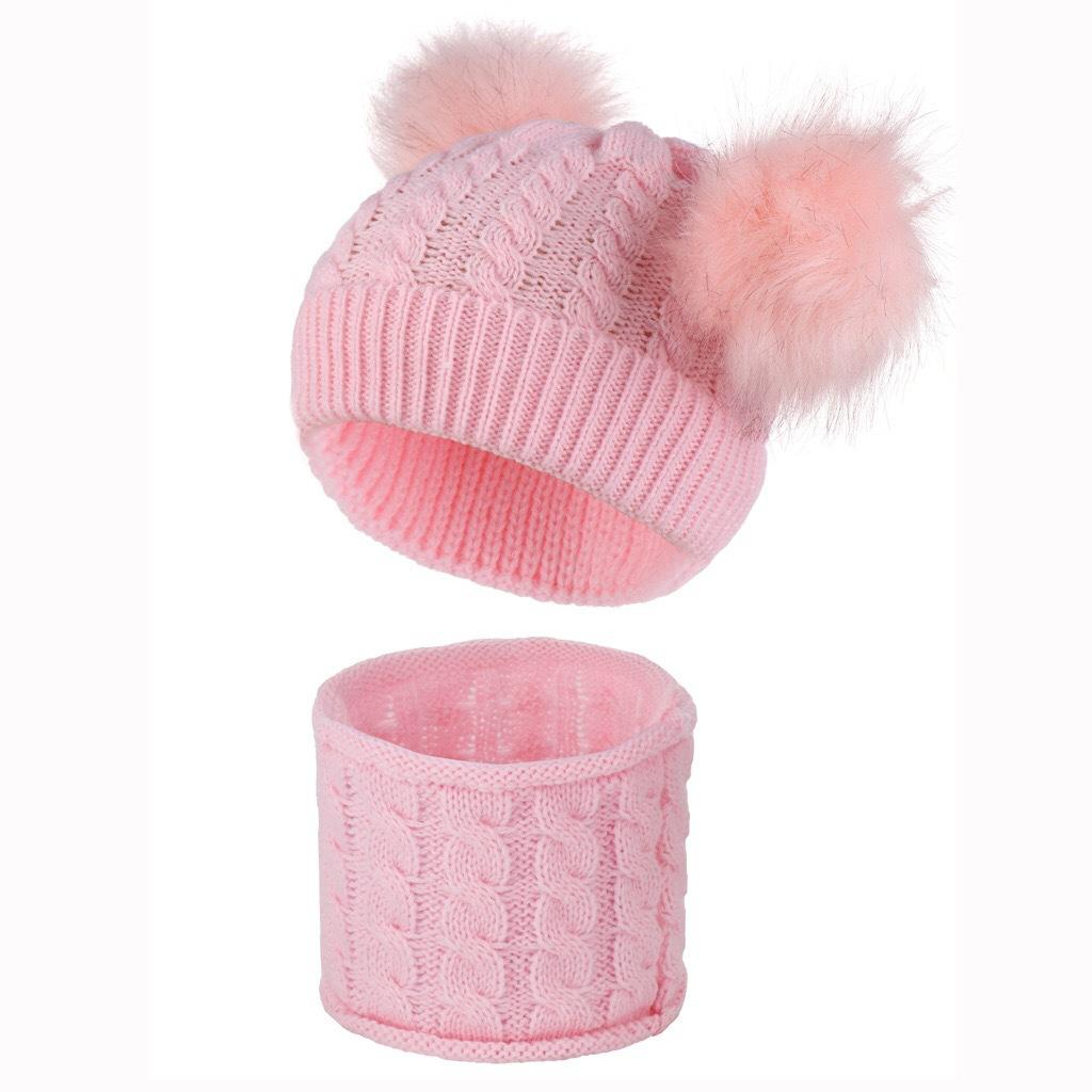 with 2 Imitation Raccoon Fur Pom Ball Beanies for 0-2 Years Baby Kids Infants Winter Hat Twist Knit Skull Caps and Scarf Seet 9Color E102001