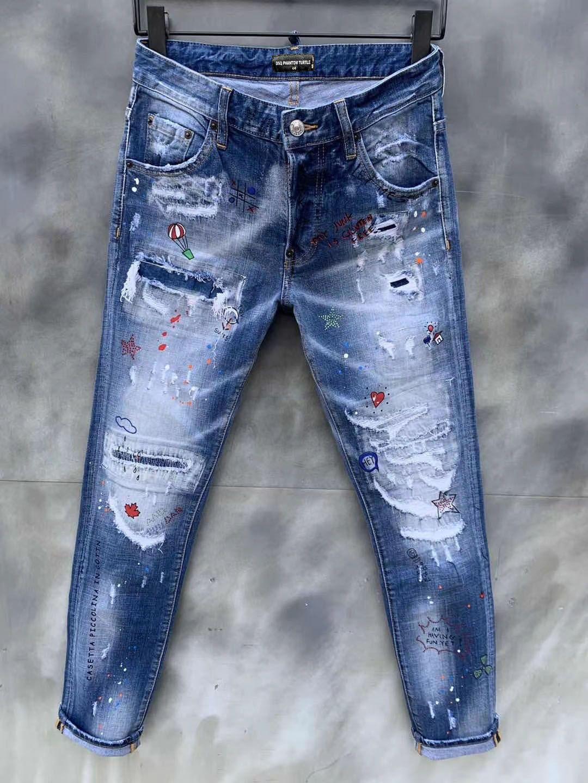 DSQ JEANS MENS MENS DE PRESSURY DESIGNER JEANS SKINNY RIPPÉE COOL GUY GUY Denim Jean Fashion Marque Fit Jeans Hommes lavés Pantalon 12665