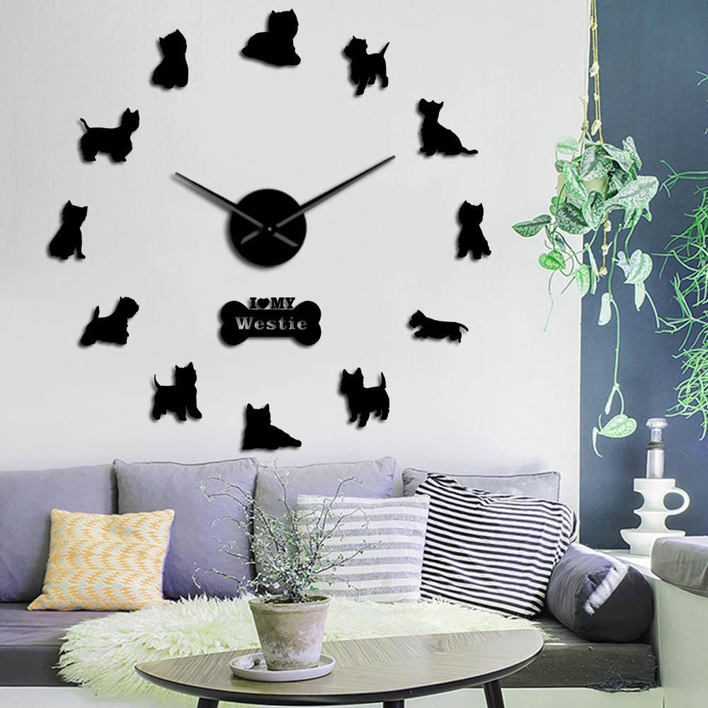 Raça West Highland Terrier Westie Longo relógio mão 3D DIY relógio de parede Filhote de animal autoadesivo Big Acrílico Tempo relógio relógio