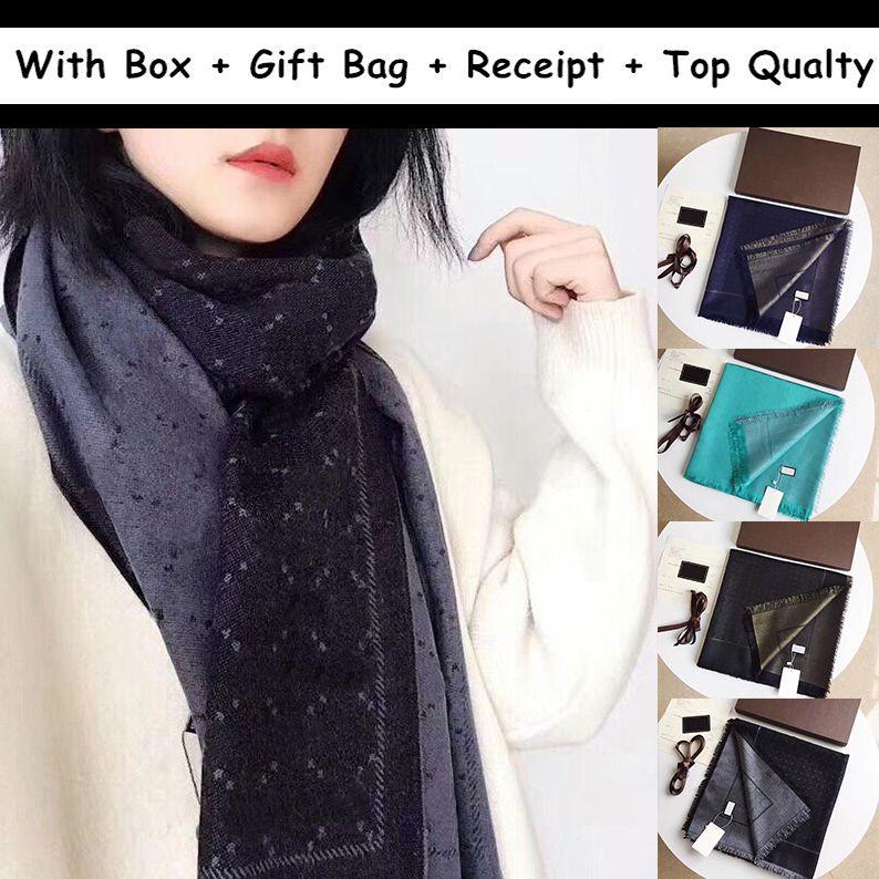 2021 pour cadeau avec boîte cadeau sac de réception Foulards pour femmes hommes Designers d'hiver hommes Foulard de laine Pashmina Laine Cacheurs à la mode chaude