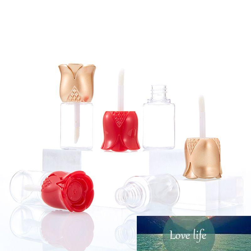 5 adet Gül Çiçek Şekilli Kap Boş Dudak Parlatıcısı Tüpler Şeffaf DIY Dudak Balsamı Doldurulabilir Şişe Kozmetik Makyaj Kapları