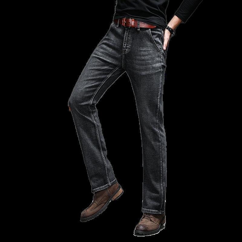 Siyah Slim Fit Bootcut 2020 Jeans Erkekler İş Casual Erkek Stretch İnce Flared Bootcut Yeni Varış için Boot Cut Jeans