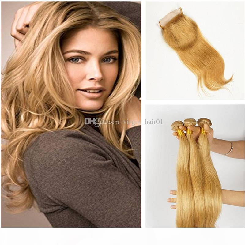 Honey Blonde Straight Hair Bunldes With Lace Closure #27 Brown Blonde Lace Closure With Straight Hair Weave Peruvian Virgin Hair Wefts