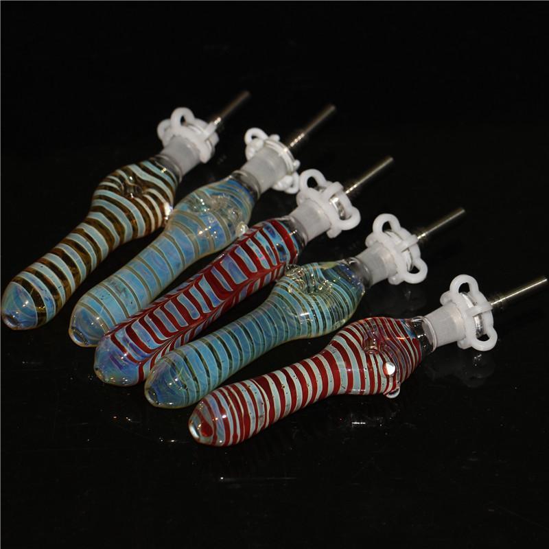 Neues Glas NC-Kit mit 10mm 14mm Quarz-Tipps Keck Clip Reclaimer Nector Collector Kit für Raucher