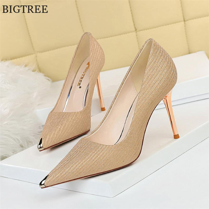 Bigtree Talons Femmes Pompes Sexy Paillettes Couleur Office Party talonnette peu profond Mesdames métal Chaussures bout pointu Zapatos Mujer