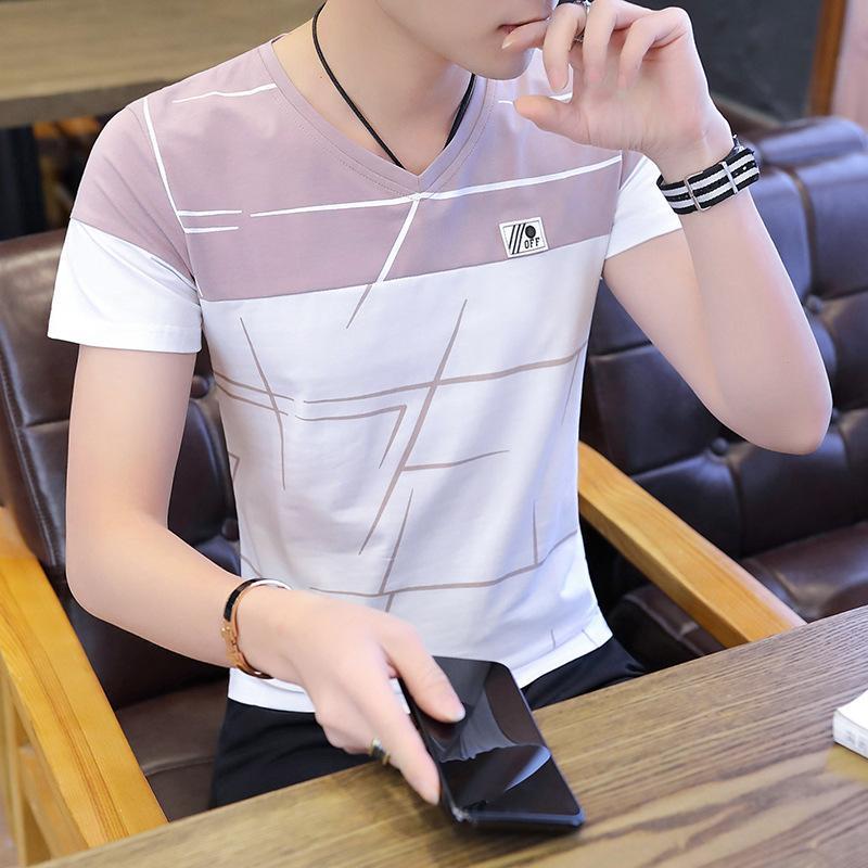 Nova Qualidade Moda Masculina Moda Casual Homens 95 Algodão Manga Curta T-shirt We3026