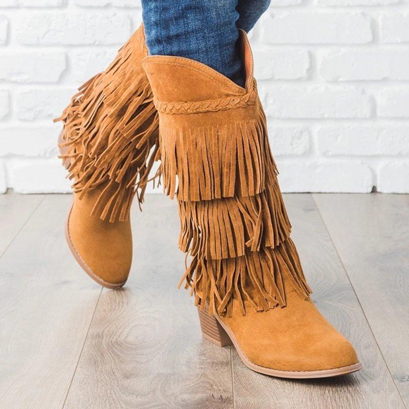 Mode Nation Style Flock Cuir Femmes Fringe Talons Plat Bottes Longues Bottes Femme Tassel Bottes hautes Bottes Taille 35-431