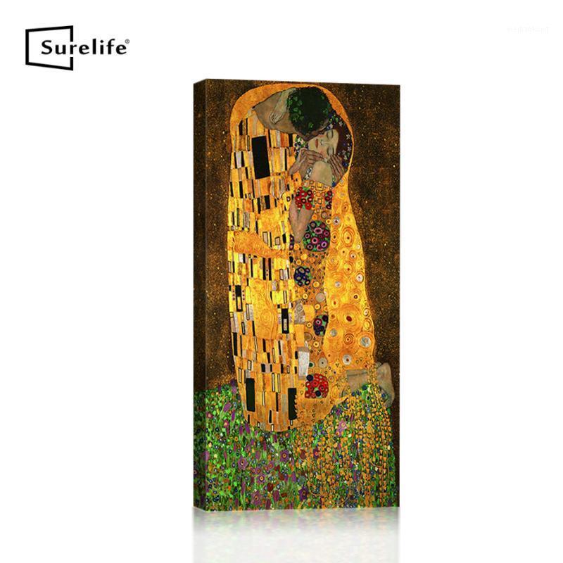 Классический Gustav Klimt Classic Kiss Coll Canvas Paintion Diy Colden Wood Рамка растянутая плаката Печать настенные картинки вход Decor1
