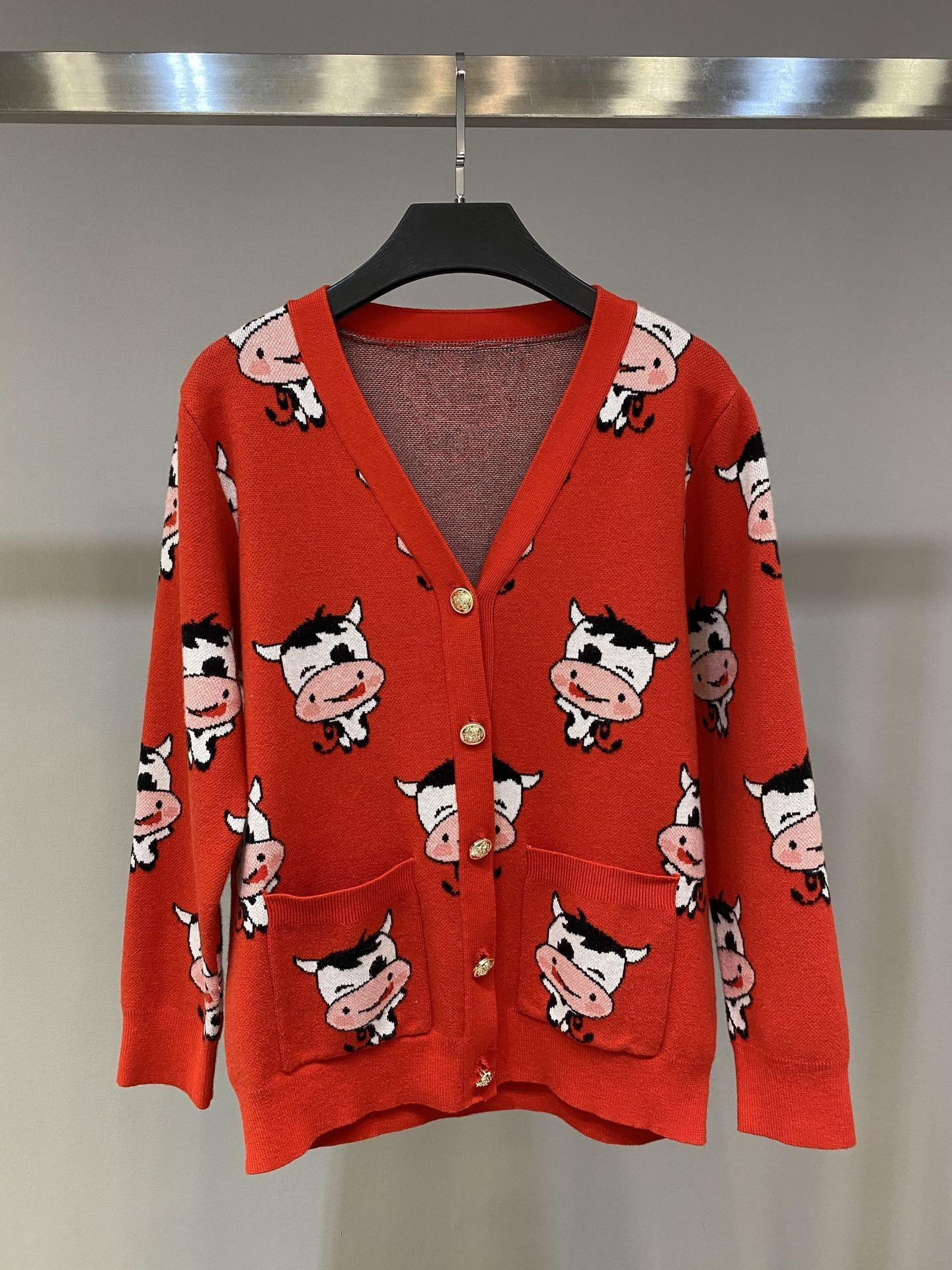 2021 early spring new year's day full of cow red V-neck knitted sweater cardigan coat