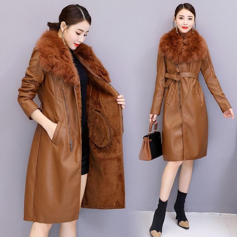Women's Winter Faux Collier Cuir Cuir Manteaux Loose Manteau Femme Slim Collectez la taille de la taille de la taille de la taille de la taille de la taille de la taille 201030
