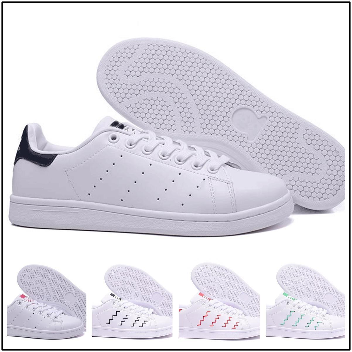 2018 Stan Smith verde VENTA CALIENTE mujeres de calidad superior hombres nuevos zapatos de moda Stan Smith zapatillas de deporte de cuero ocasionales corrida deporte Zapatos