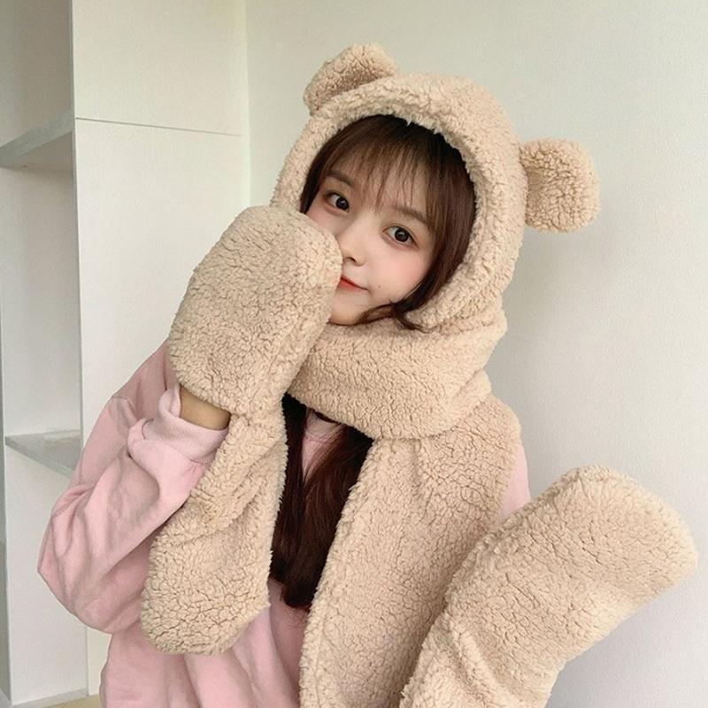 Chapéu de inverno mulheres grossas pelúcia lenço quente chapéu luvas moda bonito urso orelhas uma luvas de lenço quente
