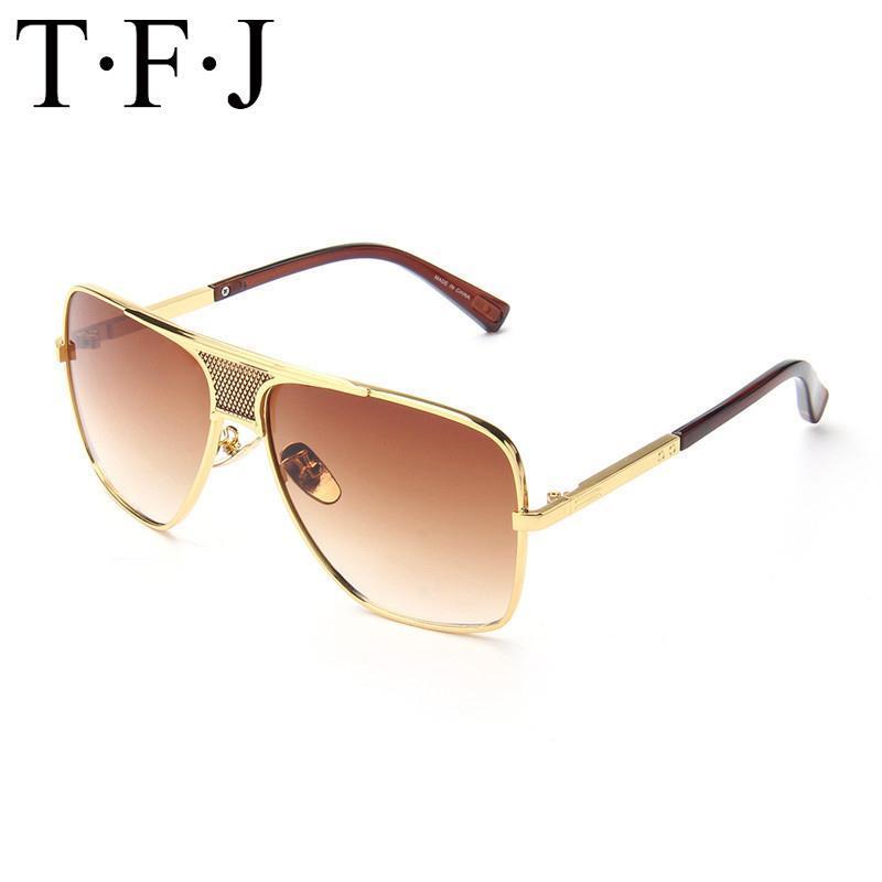 Diseñador retro TFJ espejo gafas de sol polarizadas de los hombres de Aviación de conducción Sombras Hombre Gafas de sol para los hombres de Oculos UV400