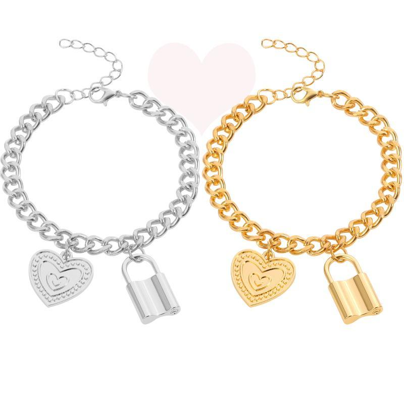 Punk Heart & Lock Pendant Bracelet Fashion Alloy Love Symbol Ornaments for Couples Thick Chain Charm Bracelets Jewelry For Women