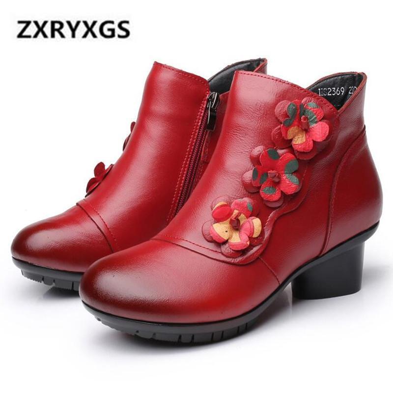 Botas Classi Flower Cuero Cuero de Cuero 2021 Primavera Elegante Comfort Tobillo Zapatos Cálidos Invierno Tacones Altos 5 cm