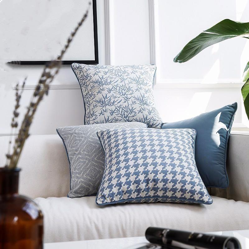 45x45cm Patrón geométrico azul Cubierta de cojín Cubierta de almohada cuadrada Villa Sofá cama Funda para almohada Dobby Houndstooth Pillowcase Home1