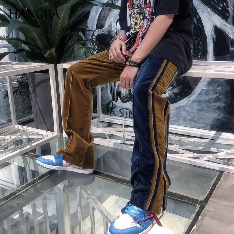 Velour Pantaloni sportivi delle donne degli uomini di Hip Hop moda velluto pantaloni da uomo Streetwear caviglia Zipper Colorblock Mens Pantaloni felpa 201006
