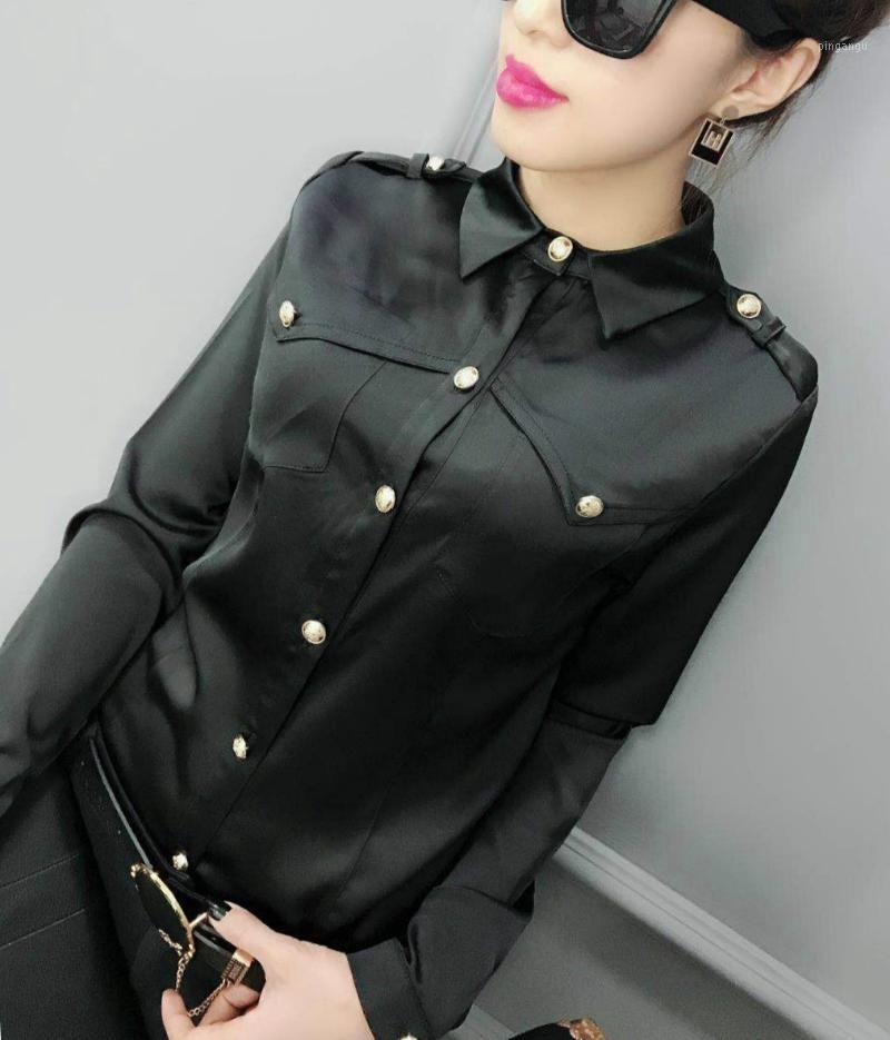 Camicette da donna Camicie 2021 Primavera Manica lunga Doppia Giù Collare Nero Satin Women Office Work Lady Wear White Tops1