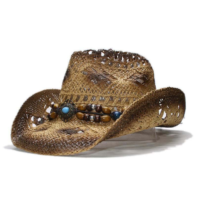 Cloppes Retro Frauen Herren Aushöhlen Backfarbe Cowboy Western Sommer Stroh Cowgirl Sun Hut Türkis Anhänger Holz Perle Eine Größe 58 cm
