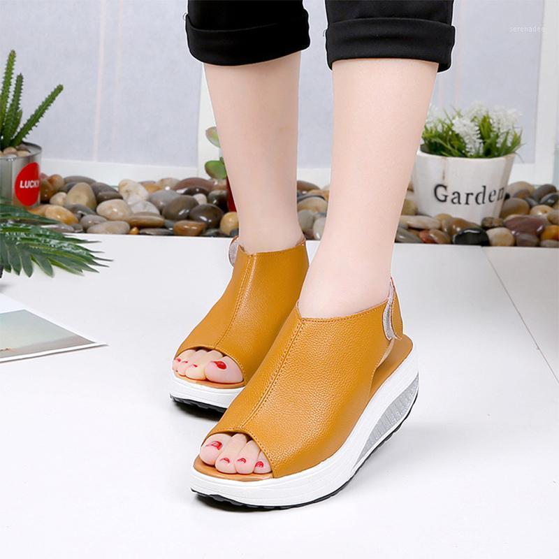 2020 mulher peep toe sandálias feminino gancho loop sapatos senhoras mulheres casuais cunhas mulheres sólidas confortáveis calçados mais tamanho1