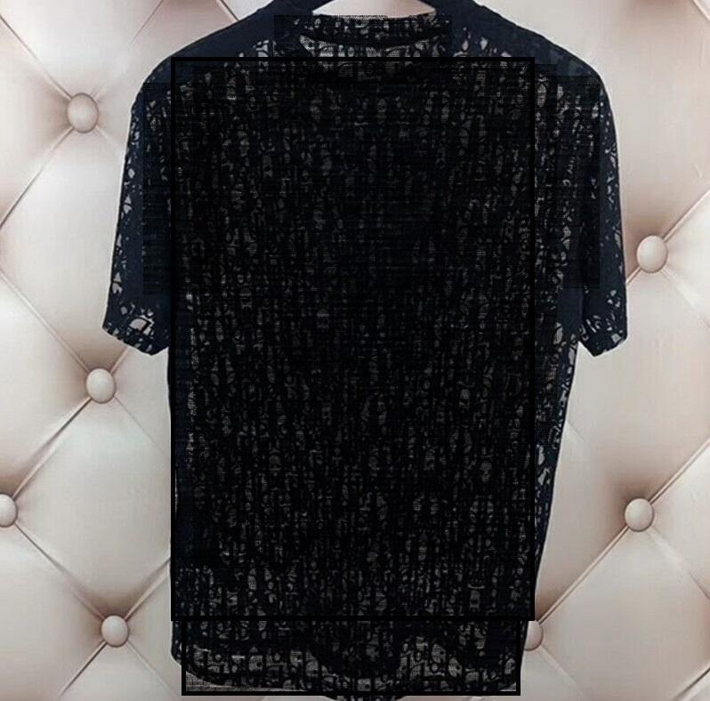 Bayan Erkek Vogue Tasarımcısı T-shirt Seksi Sheer Parti Giyim Kadının Mektup Baskı Oymak Shirts Üst Yaz Hip Hop Streetwear Moda Tee Man