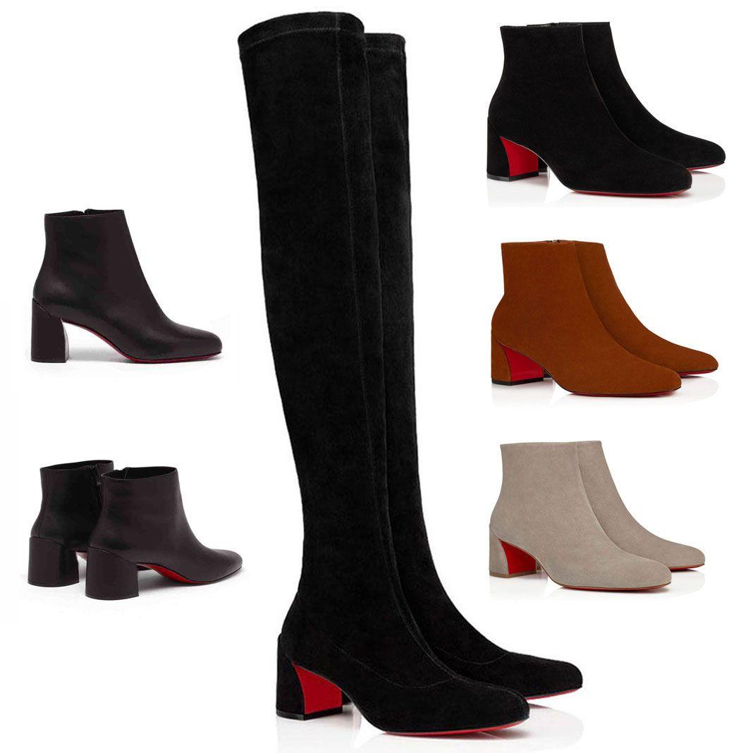 Damas invierno moda sexy botas altas mujer rojo zapatos botas tobillos suelas rojas tacones botas delgadas / gruesas / pony tacones moda regalo