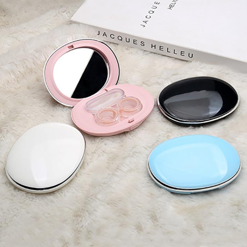 2020 Neue Mode Oval Frauen Kontakt Linsen Fall Kosmetik Protable Sonnenbrille Nette Einfache Pflegebox 4 Farbreise-Zubehör1