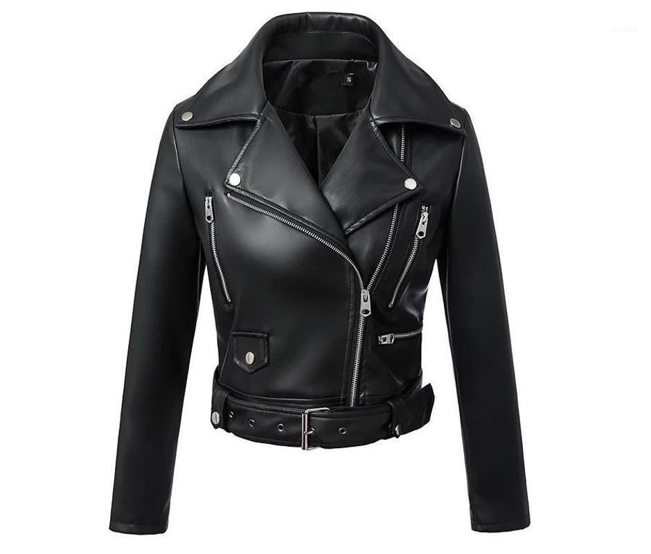 Schwarze Lederjacke Gothic Frauen Lederjacke Kurzabhängiger Kragen Streetwear Winter Mantel Mode 2020 Taschen1