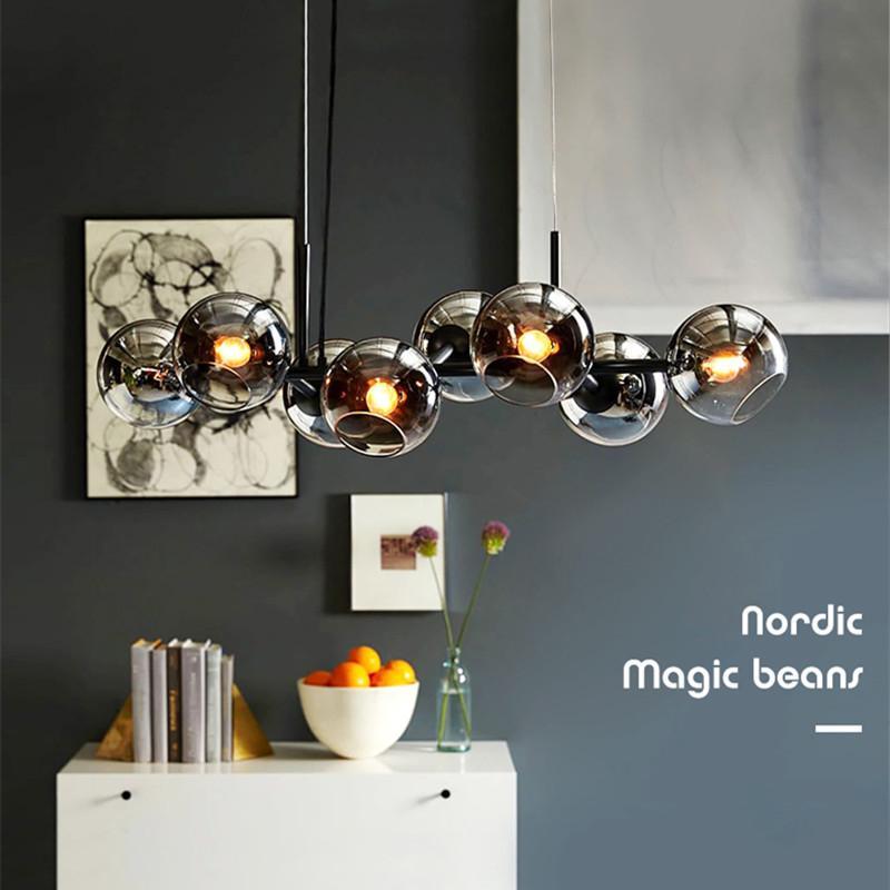2020 New Nordic Loft Glass Ball Pendant Lights Creative Molecule Design Winehouse Living Room Kitchen Bar E14 Hanging Light Fixtures