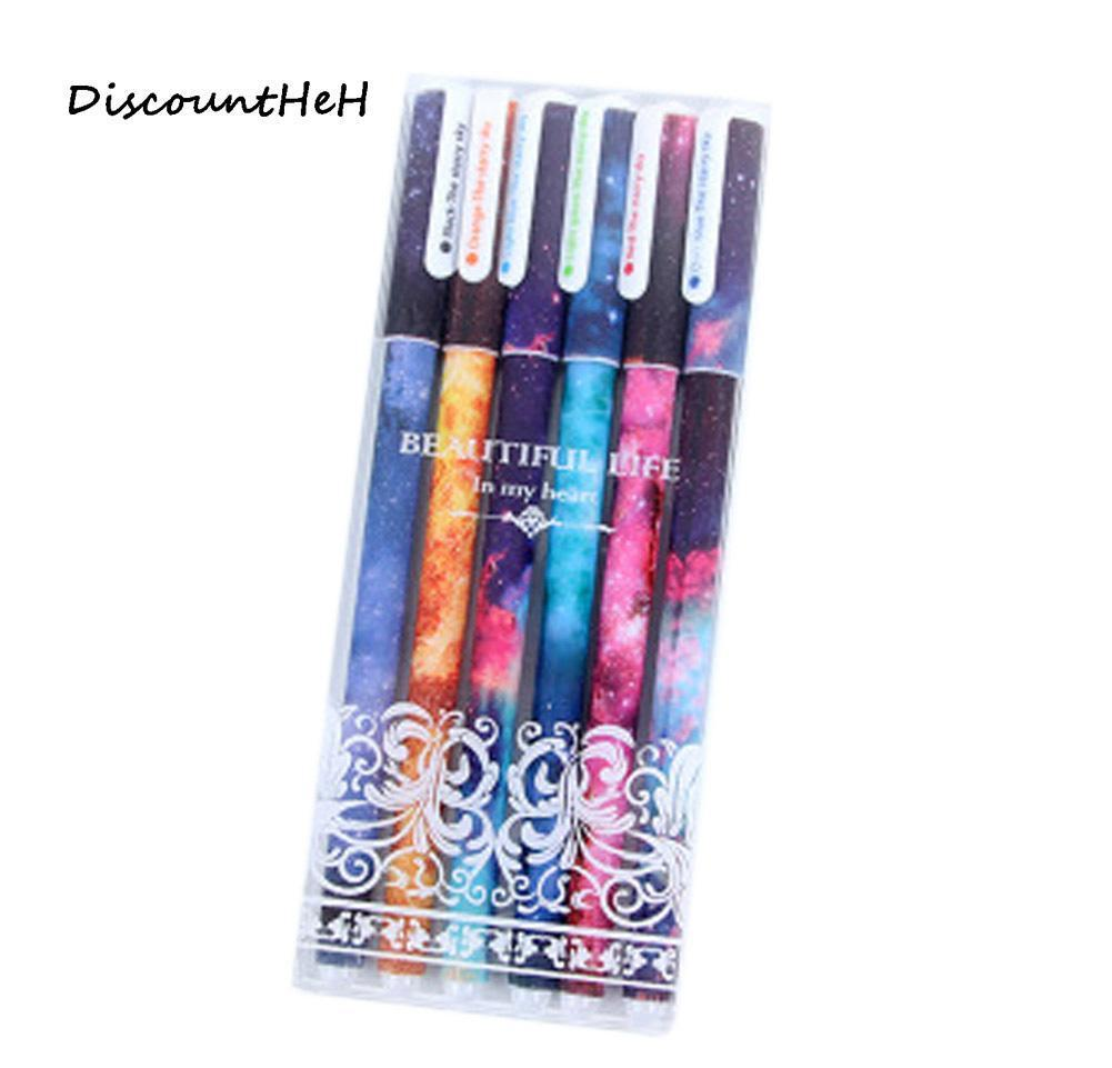 6 PCS / 세트 귀여운 펜 볼펜 펜 블랙 컬러 젤 펜 세트 만화 KIY 사무실 액세서리 학교 BBYKCL BDESPORTS