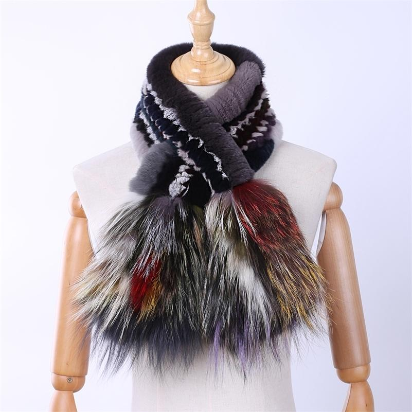 Brand New Genuine Real Rex Rabbit женщин Мода шарф шарфы Silver Fox Fur Вязаные палантины Multicolor Зимний Теплый 201018