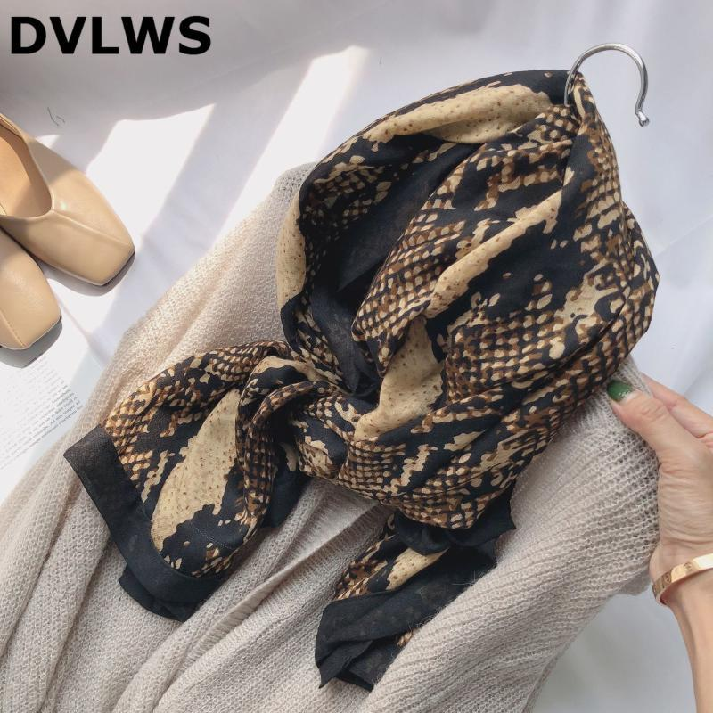 스카프 DVLWS 패션 가을 겨울 스카프 뱀 피부 인쇄 머리 폴리 에스터 고품질 솔기 여성 Hijab 밴드 세트