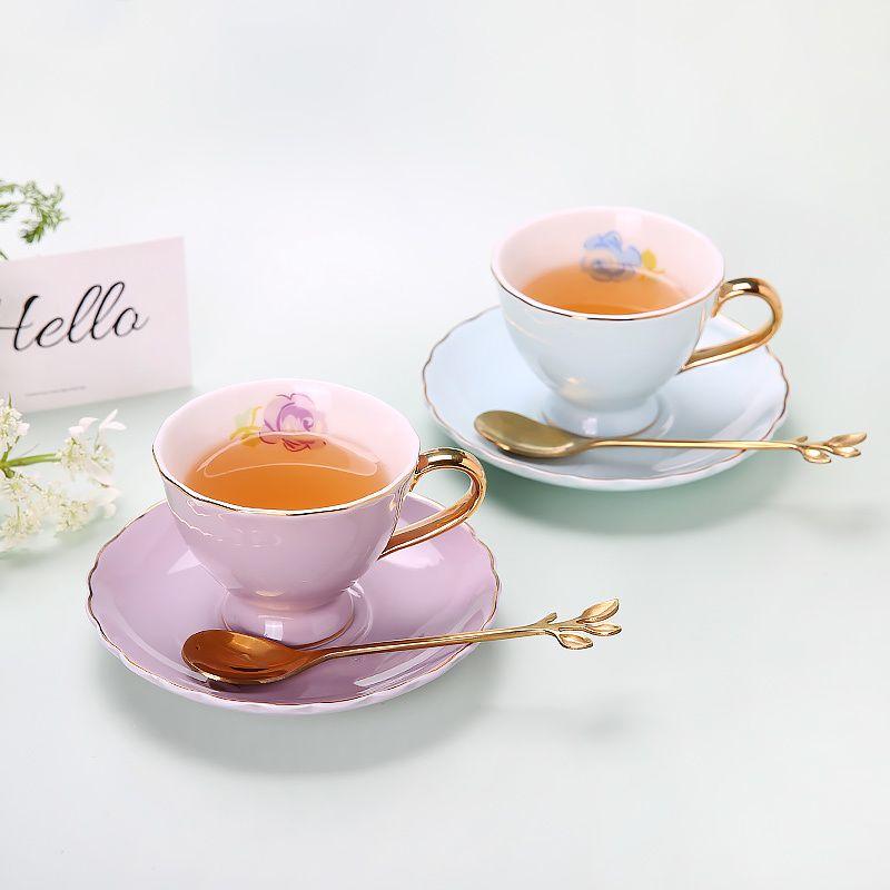 Luxe Bone China Cup Céramique Voyage européenne Creative Afternoon Tea Cups Café Bureau De Ceramica Coupe Tazas Mignon BA60BYD X1027