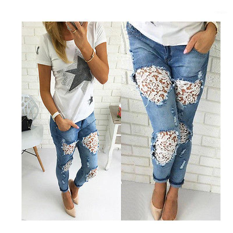 Spitze Frauen Jeans Hosen 2020 Frühling Sommer Stickerei Spitze Push Up Pants Sexy Damen Plus Größe 2XL Jeans Hosen1