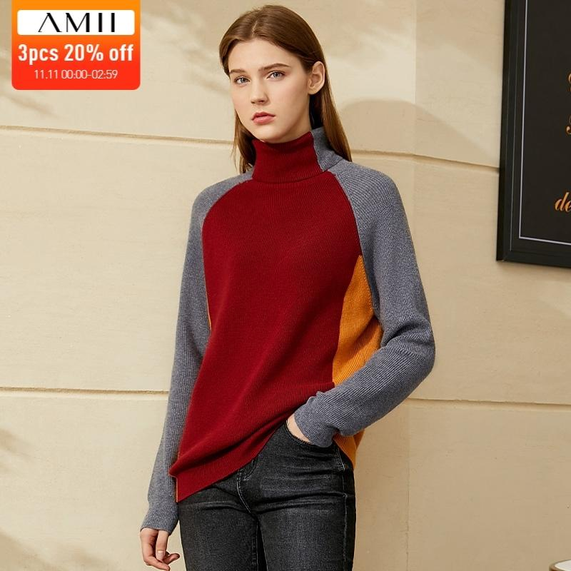 Amii Minimalism Inverno Sweater Donne Maglione moda Patchwork Donne Turtleneck Maglione Slim Fit Causal Maglioni per le donne 12040608 LJ201112